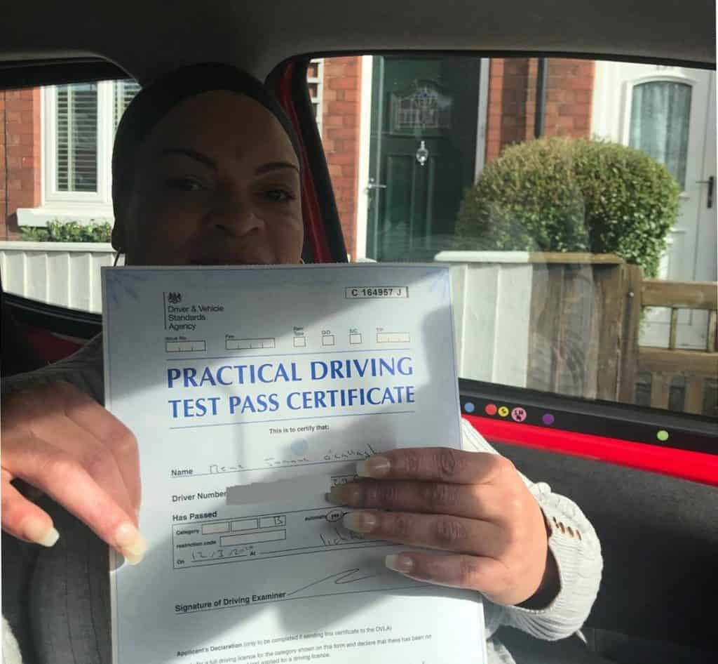 Rene O Callaghan passes her driving test